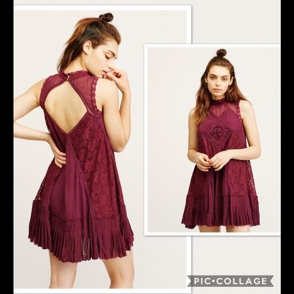 0f819756b09 NWT Free People One Angel Lace Wine Dress